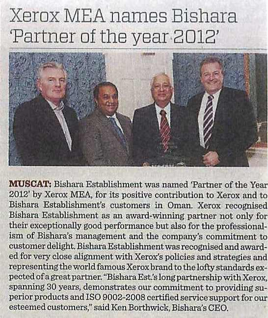 Xerox MEA Names Bishara Partner of the Year 2012 Article in Times of Oman Dt. 17.02.13-print
