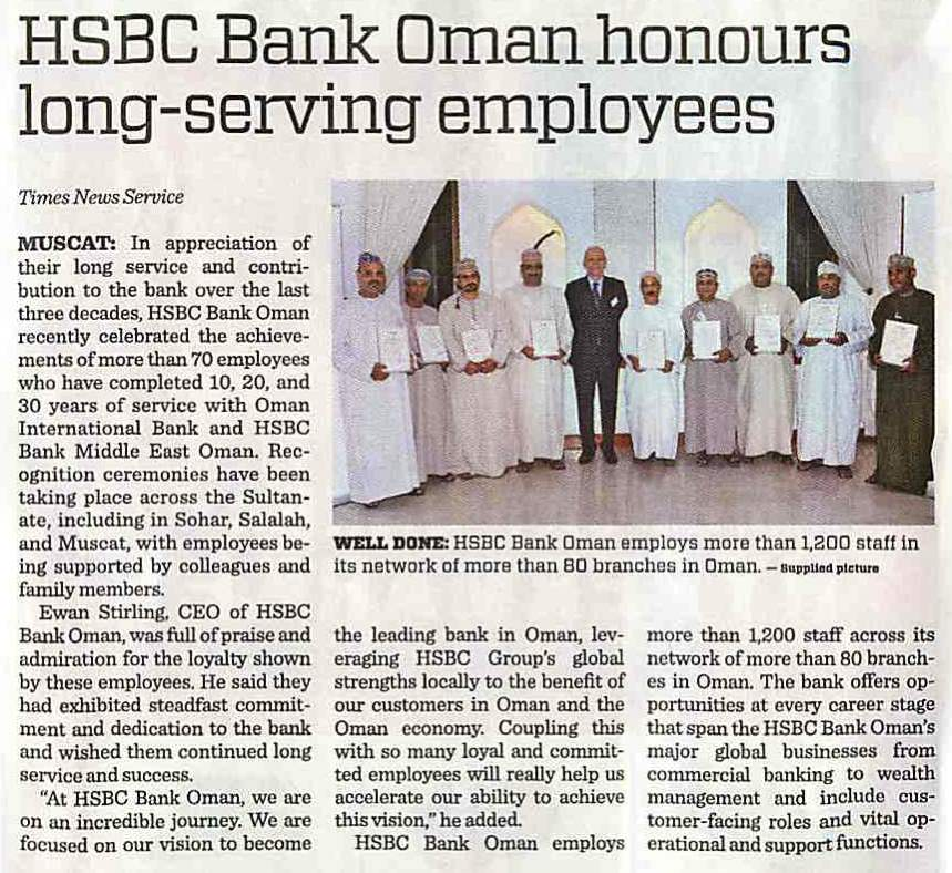 HSBC Bank Oman honours long-serving employees-Times of Oman