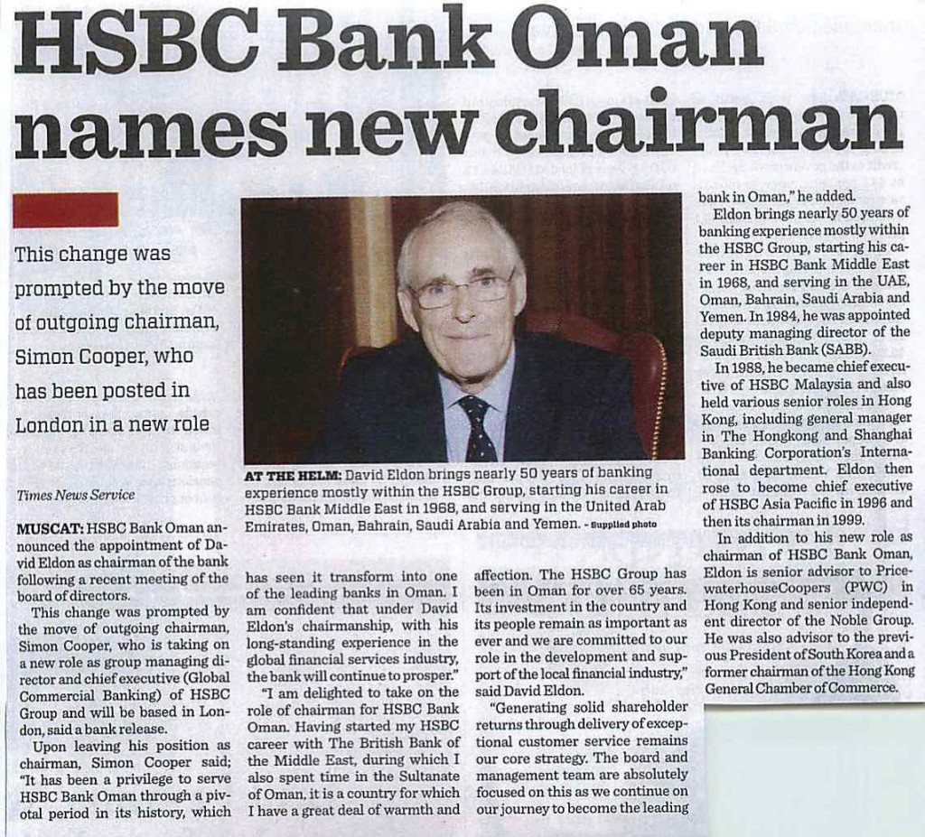HSBC Bank Oman names new Chairman-Times of Oman 13.10.13