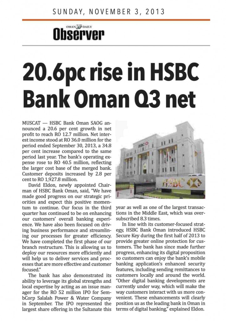 20.6pc rise in HSBC Bank Oman Q3 net-OCR