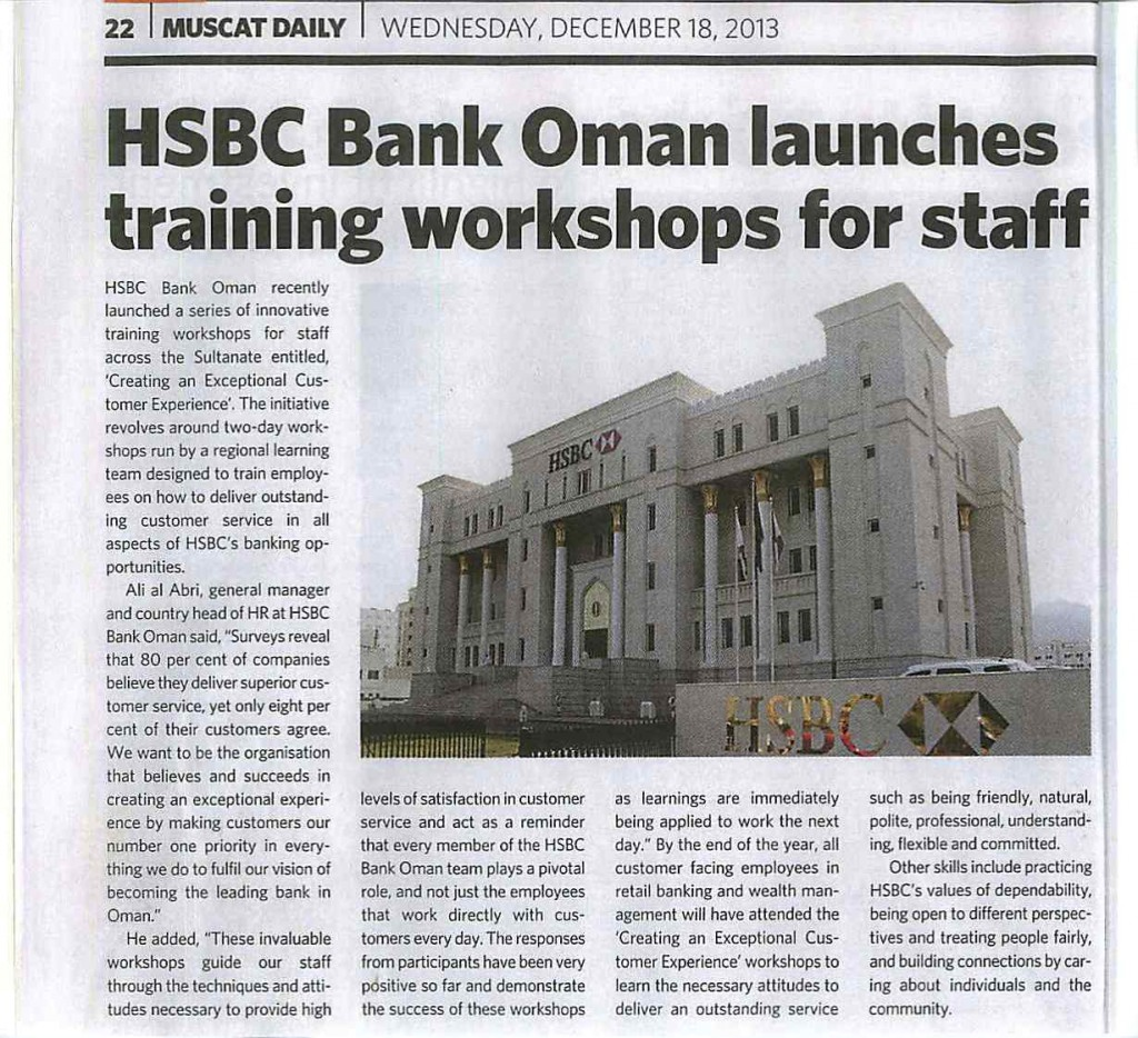 HSBC Bank Oman launches training workshops for Staff