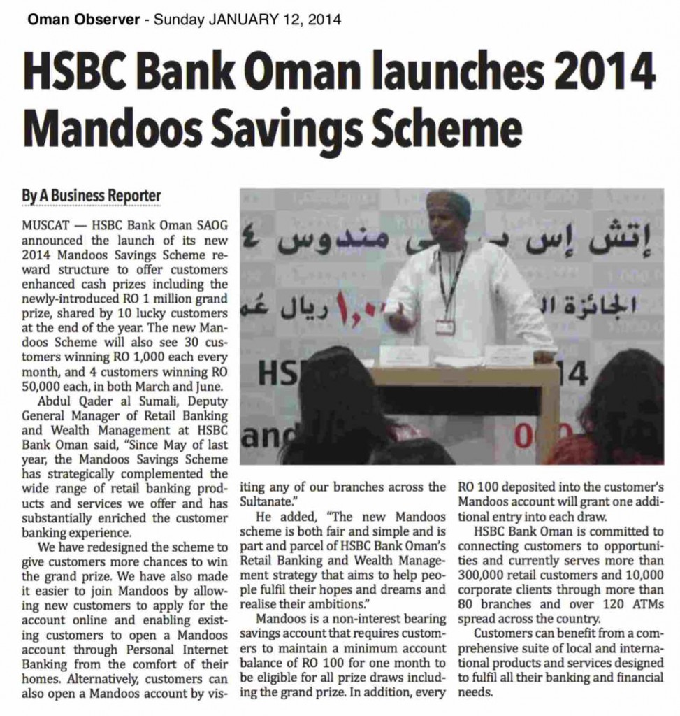 HSBC Bank Oman launches 2014 Mandoos Savings Scheme - Oman Observer 12.1.14