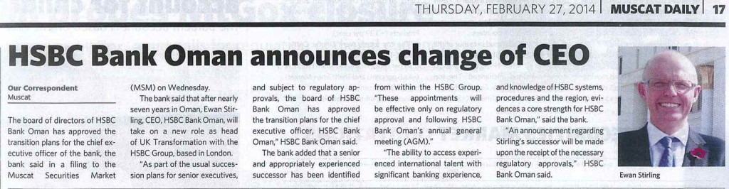 HSBC Bank Oman announces change of CEO-Muscat Daily 27.2.14