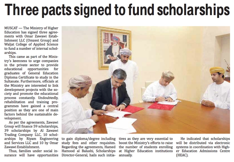 Three Pacts Signed to Fund Scholarships