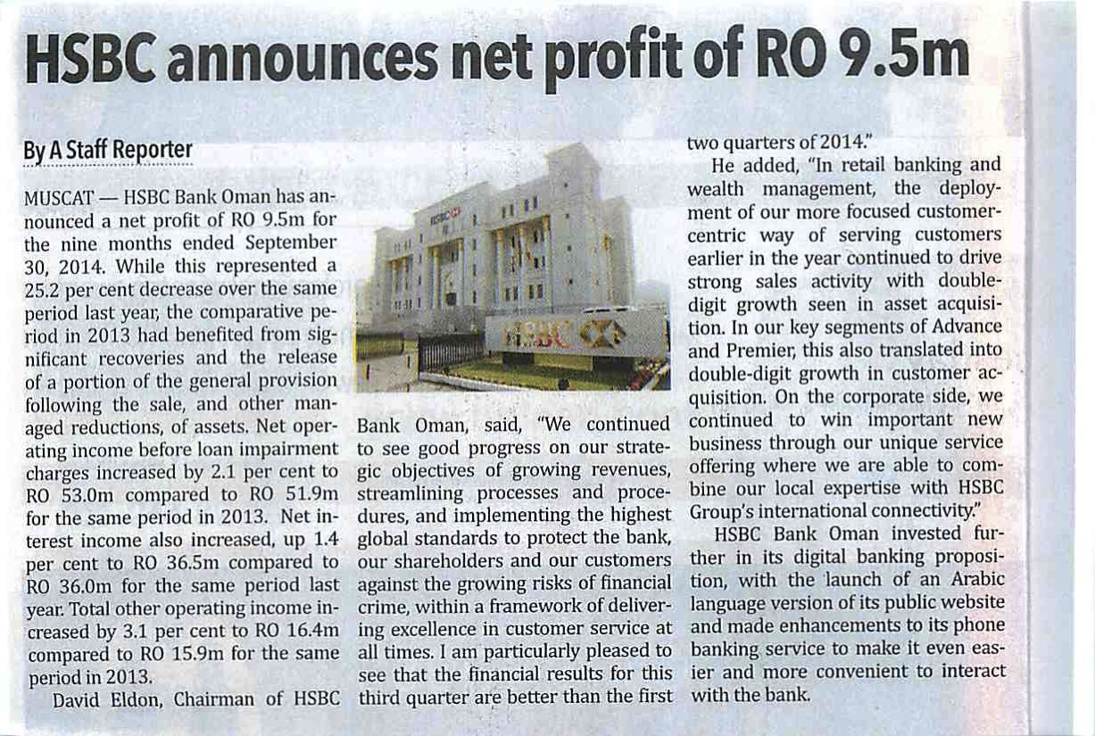 HSBC announces net profit of RO 9.5m-Oman Observer 29.10.14