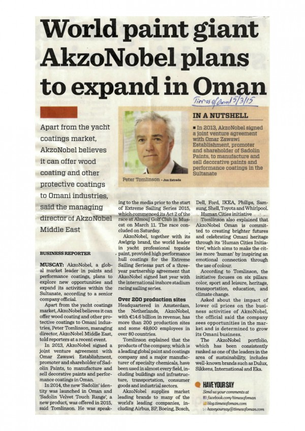 World paint giant AkzoNobel plans to expand in Oman-TOI 15.3.15 copy