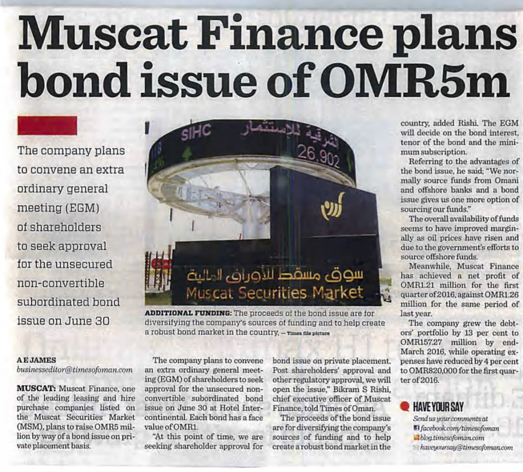 Muscat Finance plans bond issue of OMR 5 Million
