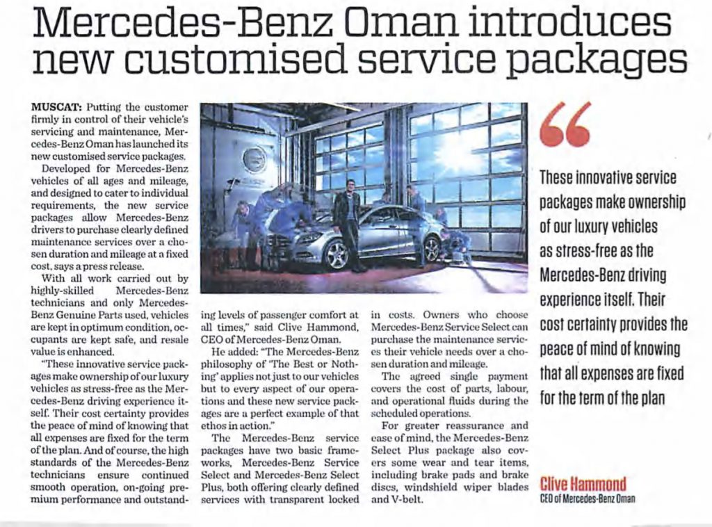 Mercedes-Benz Oman introduces new customised service packages