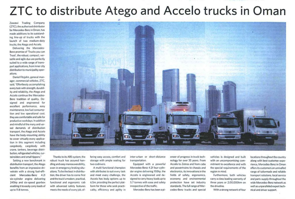 ZTC to distribute Atego and Accelo trucks in Oman-Muscat Daily 25.7.16 copy